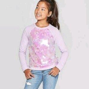 Cat & Jack Girls Lilac Flip Sequin Pullover Shirt